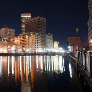 An Evening with Dr. Temple Grandin in Providence, Rhode Island - Nightime cityscape